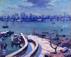 Max Kuehne, (1880-1968), Lower Manhattan, 1913, Oil on panel, 24x30""
