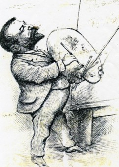 Self-portrait for Christmas Card, Thomas Nast, 1884, pen and ink, Collection of Macculloch Hall Hostorical Museum