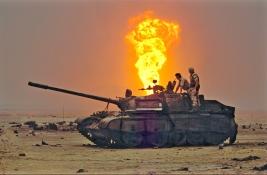 Gulf War Kuwait Iraqi tank and allied soldiers 1991